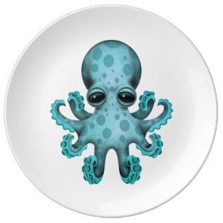 Cute Blue Baby Octopus on White Plate