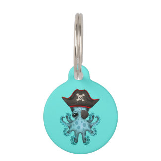 Cute Blue Baby Octopus Pirate Pet Name Tag