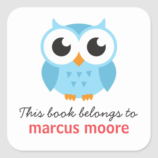 Cute blue baby owl animal cartoon bookplate book
