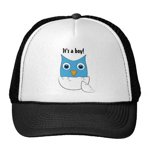 """Cute blue Baby Owl - """"It's a boy"""" Mesh Hats"""