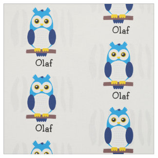 Cute Blue Baby Owls on Branches Fabric
