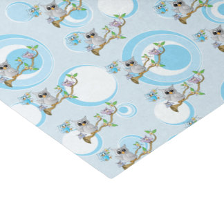 Cute Blue Baby Owls | Shower Theme Tissue Paper
