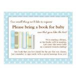 Cute Blue Baby Shower Book Insert Request Card