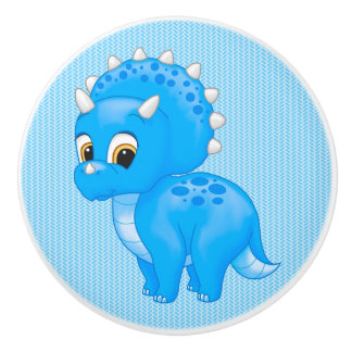 Cute Blue Baby Triceratops Dinosaur Ceramic Knob
