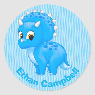Cute Blue Baby Triceratops Dinosaur Classic Round Sticker