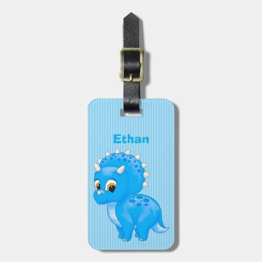 Cute Blue Baby Triceratops Dinosaur Luggage Tag