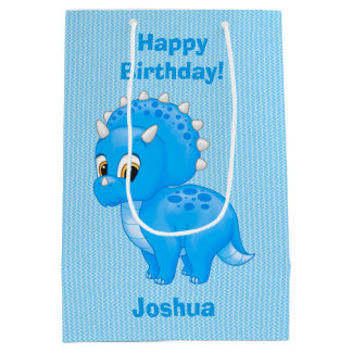 Cute Blue Baby Triceratops Dinosaur Medium Gift Bag