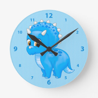 Cute Blue Baby Triceratops Dinosaur Round Clock