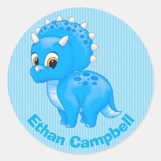 Cute Blue Baby Triceratops Dinosaur Round Sticker