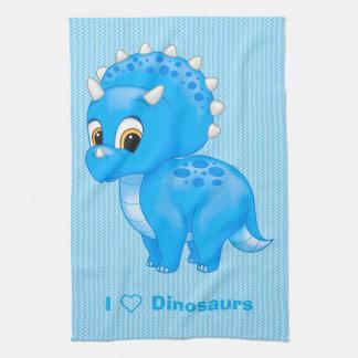 Cute Blue Baby Triceratops Dinosaur Tea Towel