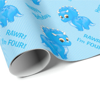 Cute Blue Baby Triceratops Dinosaur Wrapping Paper