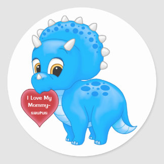 Cute Blue Baby Triceratops Love My Mommy Heart Round Sticker