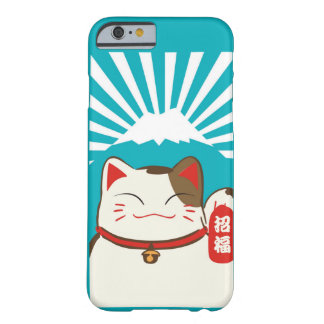 Cute Blue Background Lucky Cat Pattern for Iphone Barely There iPhone 6 Case
