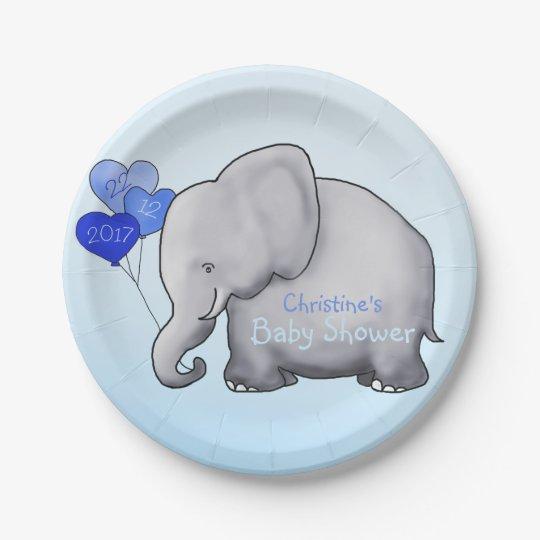 Cute Blue Balloons Elephant Boy Baby Shower Paper