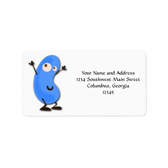 Cute Blue Bean Monster Label