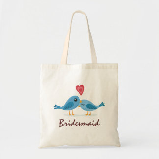 Cute blue bird couple love cartoon bridesmaid budget tote bag