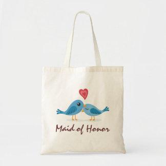 Cute blue bird couple love cartoon maid of honor tote bags