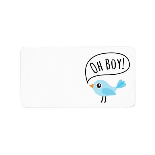 Cute blue bird saying Oh Boy blank baby shower Label