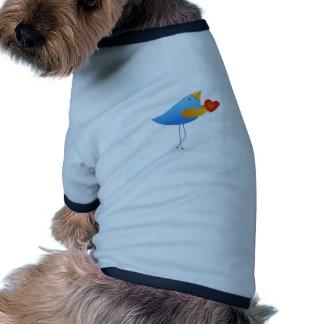 Cute blue bird with heart doggie t shirt