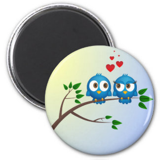 Cute blue birds in love cartoon 6 cm round magnet