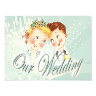 Cute Blue Bride & Groom Wedding Invitation