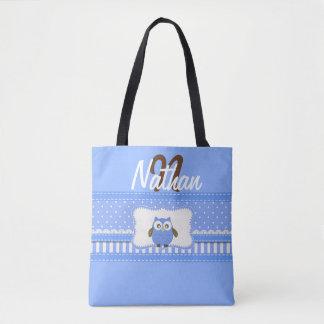 """""""Cute Blue/Brown/Monogram Owl"""" TOTE"""