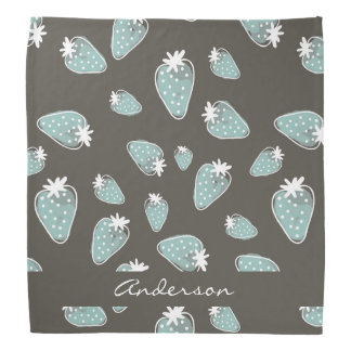 CUTE BLUE BROWN WATERCOLOUR STRAWBERRIES MONOGRAM BANDANNAS