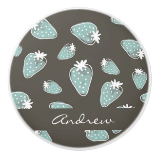 CUTE BLUE BROWN WATERCOLOUR STRAWBERRIES MONOGRAM CERAMIC KNOB