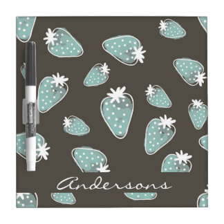CUTE BLUE BROWN WATERCOLOUR STRAWBERRIES MONOGRAM DRY ERASE BOARD
