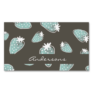 CUTE BLUE BROWN WATERCOLOUR STRAWBERRIES MONOGRAM MAGNETIC BUSINESS CARDS