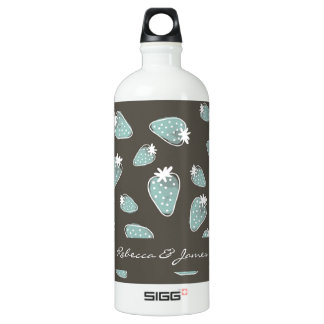 CUTE BLUE BROWN WATERCOLOUR STRAWBERRIES MONOGRAM SIGG TRAVELLER 1.0L WATER BOTTLE