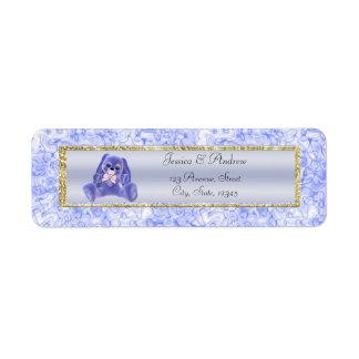 Cute Blue Bunny Baby Shower Return Address Label