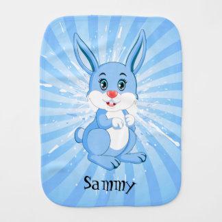 Cute Blue Bunny Cartoon Burp Cloth