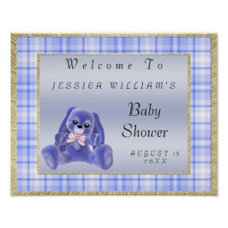 "Cute Blue Bunny ""Welcome"" Poster"