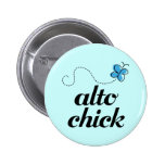 Cute Blue Butterfly Music Alto Chick Gift 6 Cm Round Badge