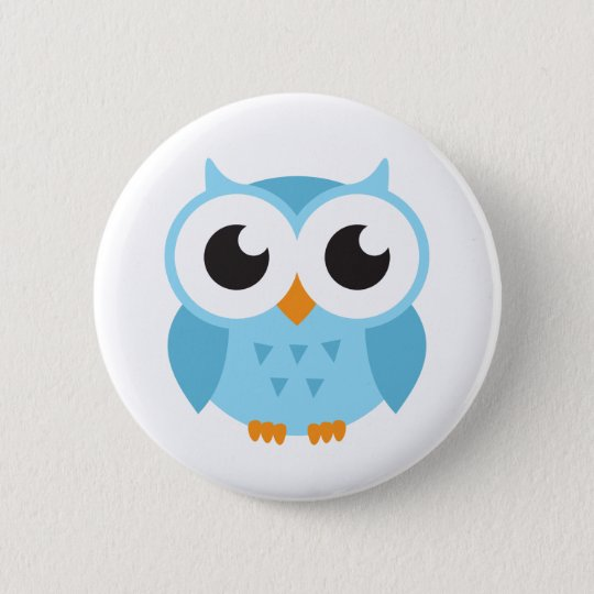 Cute blue cartoon baby owl 6 cm round badge