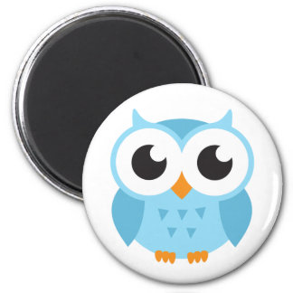 Cute blue cartoon baby owl 6 cm round magnet