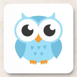 Cute blue cartoon baby owl coasters