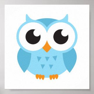 Cute blue cartoon baby owl poster