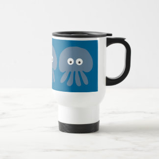 Cute Blue Cartoon Jellyfish / Octopus Custom Stainless Steel Travel Mug