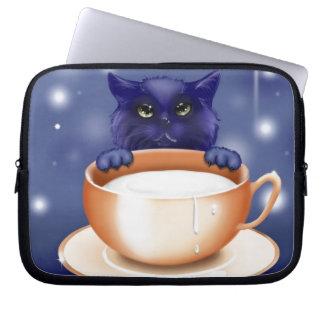 Cute, blue cartoon kitten laptop computer sleeve
