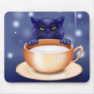 Cute, blue cartoon kitten mouse pads
