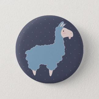 Cute Blue Cartoon Llama & White Dots 6 Cm Round Badge