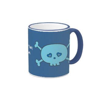Cute Blue Cartoon Skull Customizable Personalized Ringer Coffee Mug
