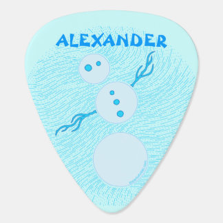 Cute Blue Cartoon Snowman Christmas Holiday Custom Guitar Pick