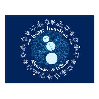 Cute Blue Cartoon Snowman Personalized Hanukkah Postcard
