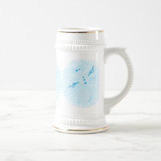 Cute Blue Cartoon Snowman Winter Holiday Stein Coffee Mugs