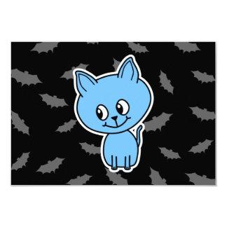 Cute Blue Cat and Bats. 9 Cm X 13 Cm Invitation Card