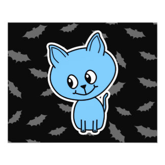 Cute Blue Cat and Bats Flyer