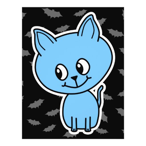 Cute Blue Cat and Bats. Flyer